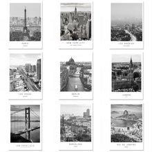 Черно белая Картина на холсте Париж Лондон Нью Йорк мир пейзаж