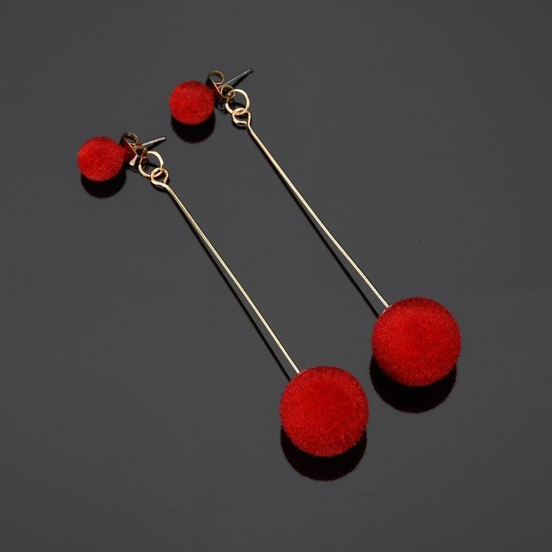 Fashion Red Black Plush Ball Drop Earrings For Women Korea personality Round Long Tassel Earrings Statement Winter Jewelry Gift
