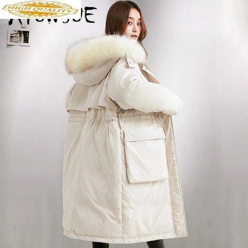 Winter Coat Women 90% White Duck Down Jacket Women Raccoon Fur Collar Puffer Jacket 2019 Warm Parka Abrigos YA61U0290-1 YY1651