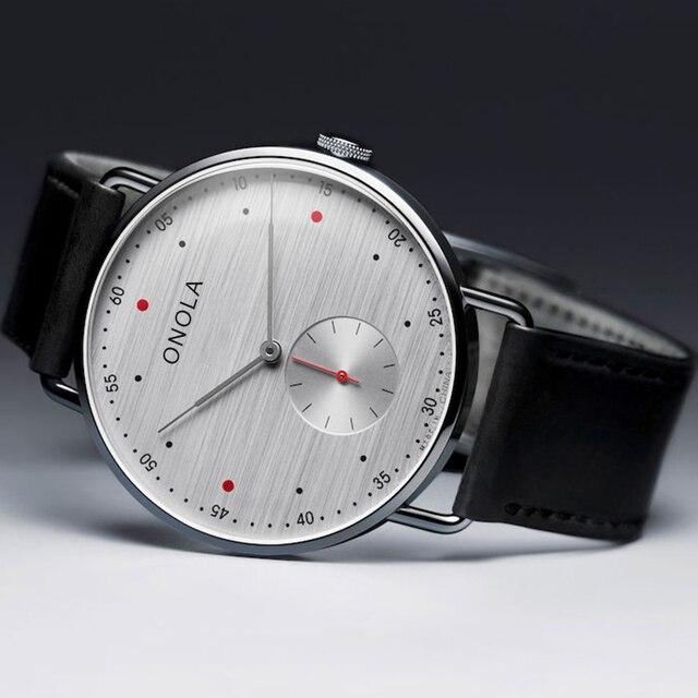 Модный бренд, ONOLA, простые повседневные мужские часы из кожи, Бизнес класс, водонепроницаемые, нейлоновый ремешок, кварцевые наручные часы д...