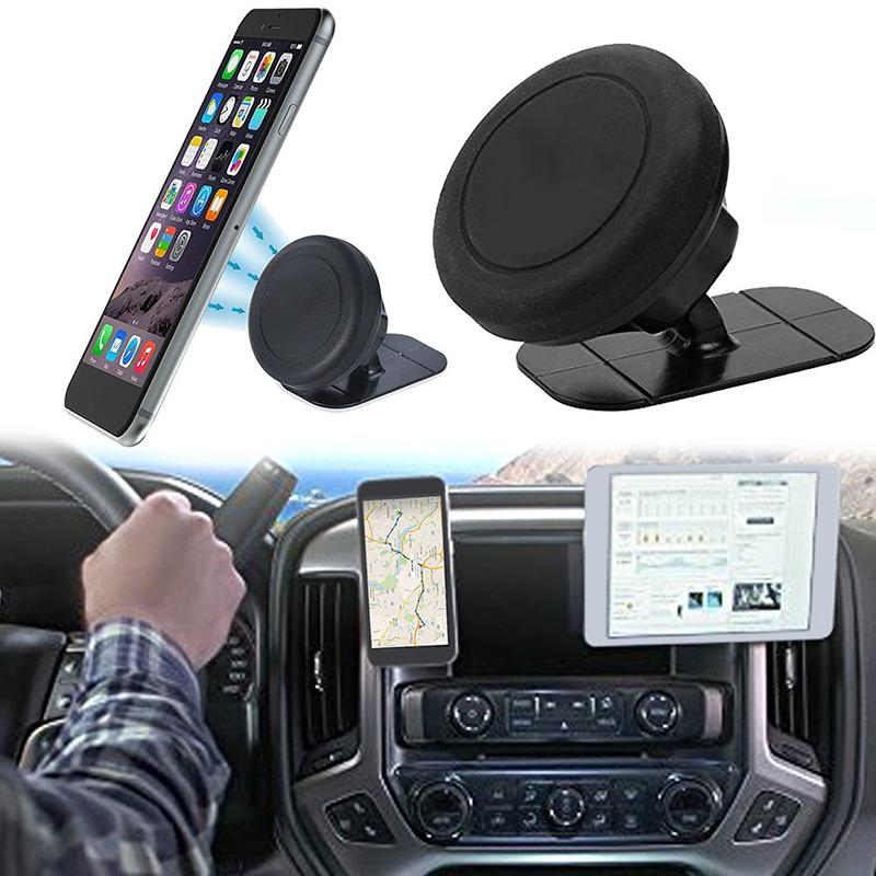 Universal Luminous Cell Phone Holder Metal Stand Dashboard Magnetic Car Cradle Mount 360 Rotation for Smartphones Black