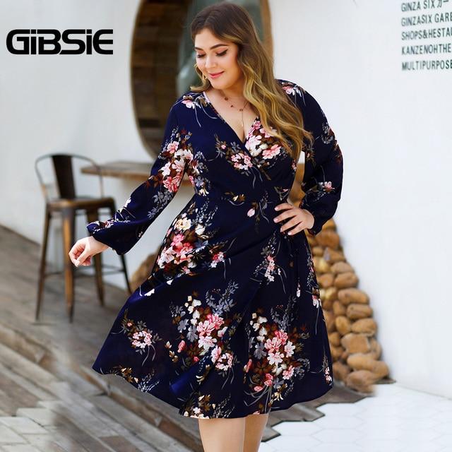 GIBSIE Plus Size Floral Print High Waist Dresses Women V-neck Long Sleeve Wrap Dress Autumn Casual A-Line Knee Length Dress 2