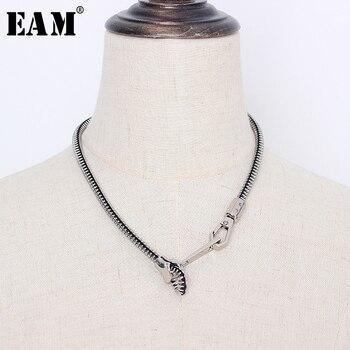 [EAM] kobiety kolor metalu zamek w kształcie projekt fajny naszyjnik nowy Temperament moda fala cały mecz wiosna jesień 2020 1S271