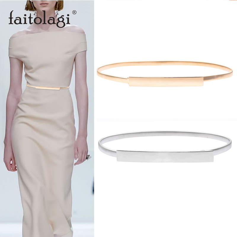 Elastic Women Belts Gold Silver Chain Waist Belts Metal Plate Female Dress Belts Ladies Thin Stretch Waistband Ceinture Femme