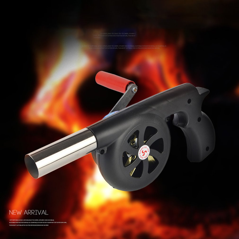 Large Outdoor Hand-Cranked Combustion Blower Manual Barbecue Picnic Camping Fire-supporting Hairdryer Outdoor BBQ Cooking