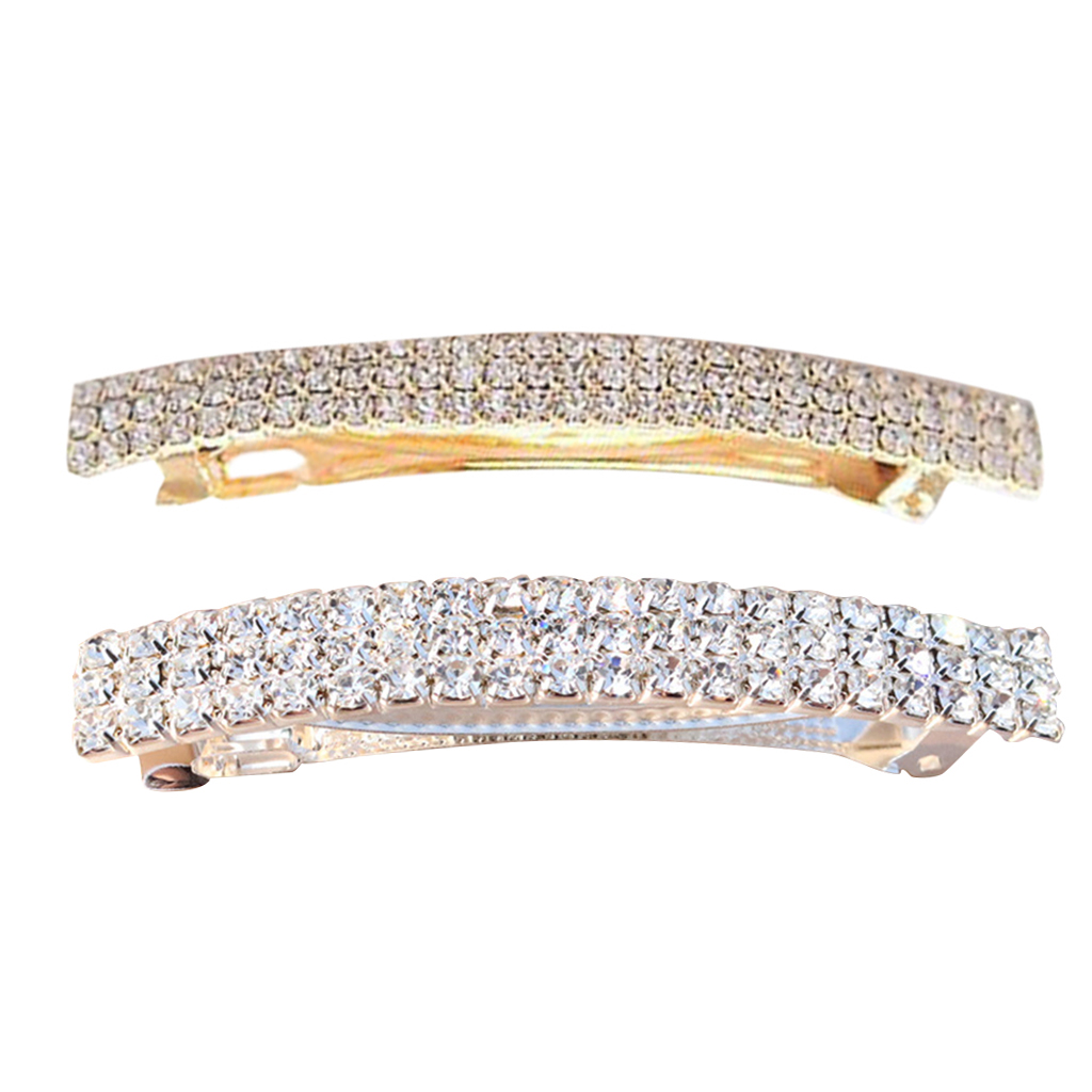 Pack Of 2 Rectangle Automatic Shining Rhinestone Spring Hair Barrette Pin Clips Jewelry