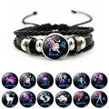 Браслет Twelve Constellation ручной работы из бисера Ретро Кожа Знак Зодиака бусы браслет браслеты для женщин мужчин ювелирные изделия подарок