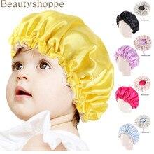 Bonnet en Satin pour enfants, nouveau, Double couche, Turban ajustable, bande élastique large, solide, pour dormir la nuit