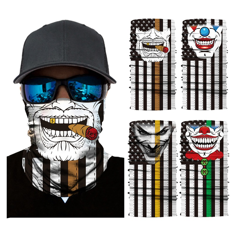 Multiway Outdoor Bandana 3D Halloween Skull Clown Printed Face Mask Seamless Sunshade Quick Dry Sweatband Hairband Head Scarf