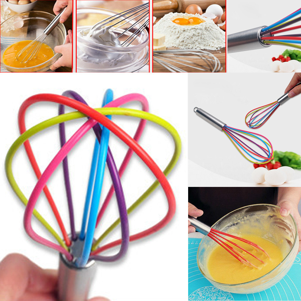 Silicone Whisk With Heat Resistant NonStick Silicone Kitchen Whisk Tool Egg Q3O1
