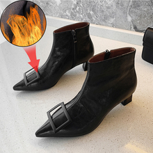 Plus Size 34-43 Pointed Toe Square Heel Women Boots Fashion Buckle Ankle Boots Women Shoes Zipper High Heel Boots Shoes Woman the new woman thin high heel pointed toe ankle boots fashion back zipper dress boots woman black red