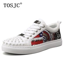 TOSJC High Quality Mens Skateboarding Shoes Rivet Design Fashion Sneakers for Male Graffiti Casual Comfort Trainer