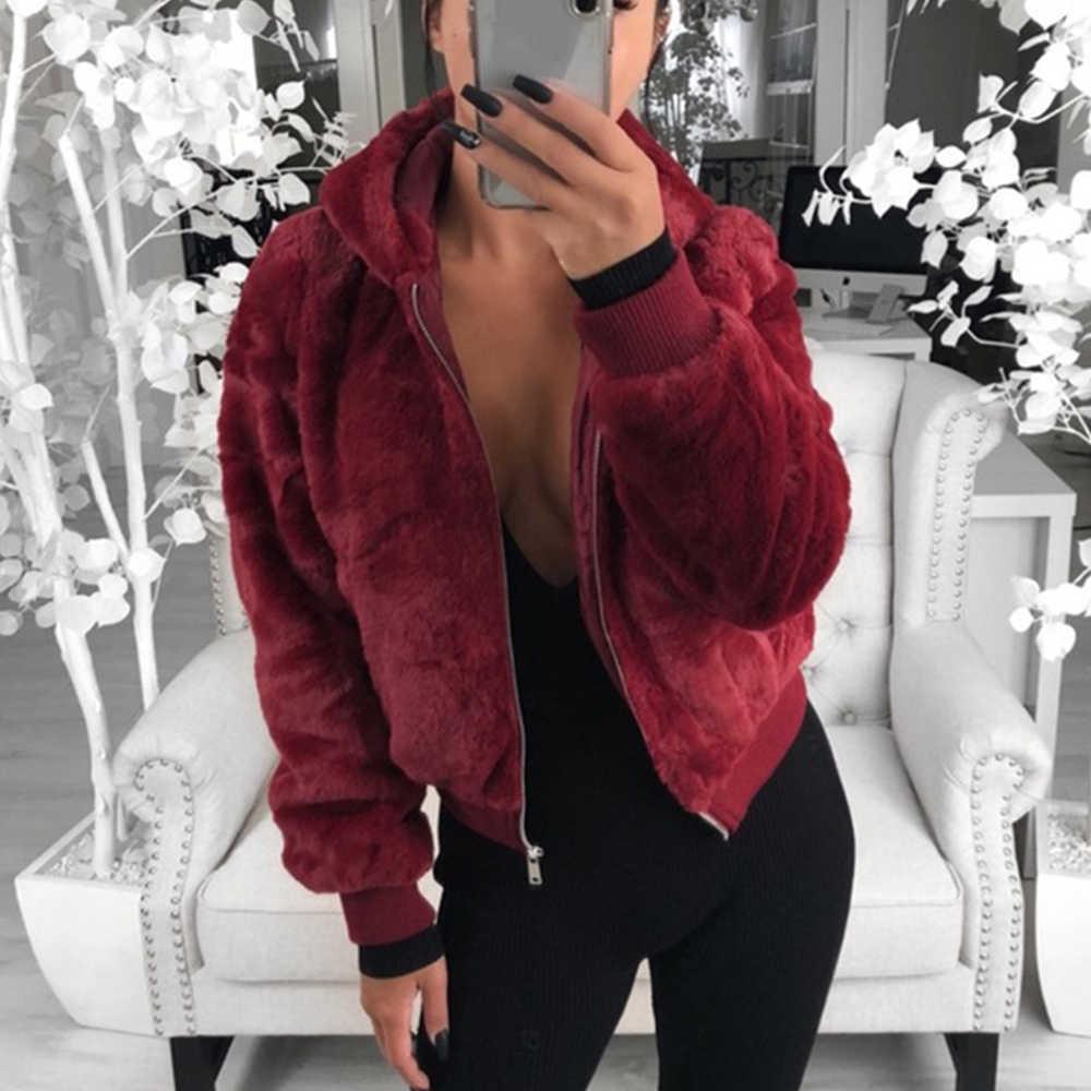 MoneRffi 2019 Yeni Kadın Moda Taklit Kürk Kapşonlu Palto Bayanlar düz renk ceketler Slim Fit Rahat Sahte Tavşan Kürk Ceketler