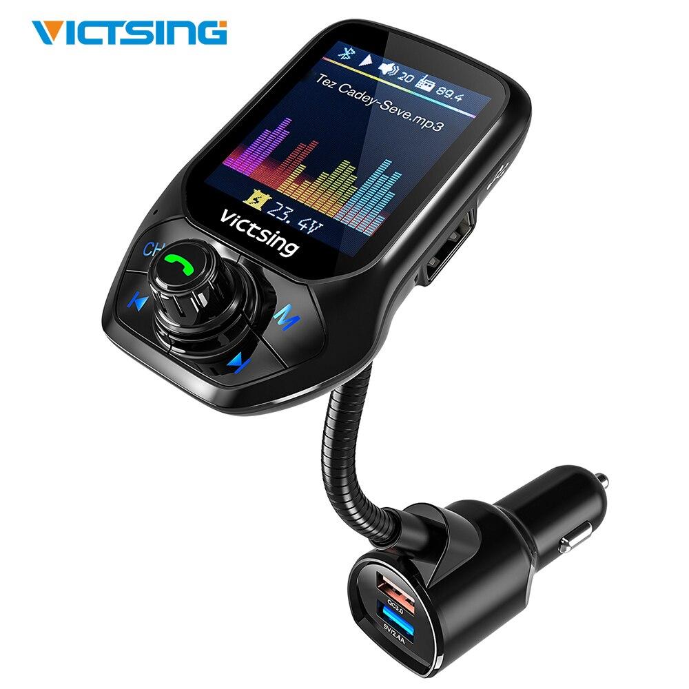 VicTsing Auto Bluetooth FM Transmitter Radio Adapter Sender mit 1,8 zoll Farbe Bildschirm, QC 3.0,EQ Modi, aux, Hände-Freies Anruf