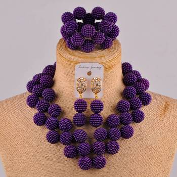 Laanc Latest Purple African Jewelry Set for Women Nigerian Wedding Beads Necklace and Earrings JXZ006 new big african gold jewelry set for women nigerian necklace statement jewellery three tone necklace earrings