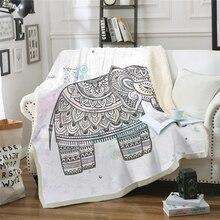 Богемное покрывало для кровати с рисунком слона, толстое Двухслойное плюшевое покрывало с 3D принтом, покрывало для кровати, дивана