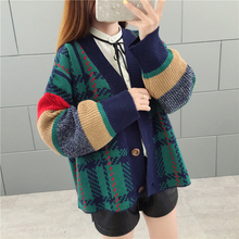 Milinsus Women Plaid Patchwork Oversized Knitted Cardigan Coat Sweaters Invierno 2019 New Cardigans Long Sleeve Korean Top