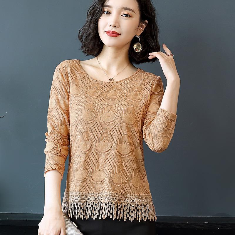 Women's Fashion Spring Summer Style Chiffon Shirt O-Neck Women's Fringe Casual Long Sleeve Lace Blusas Tops DD8245