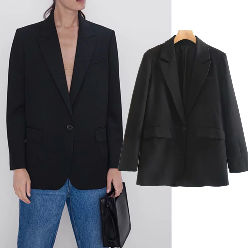 england office lady oversize vintage black blazer feminino women mujer 2019 blazers and jackets top