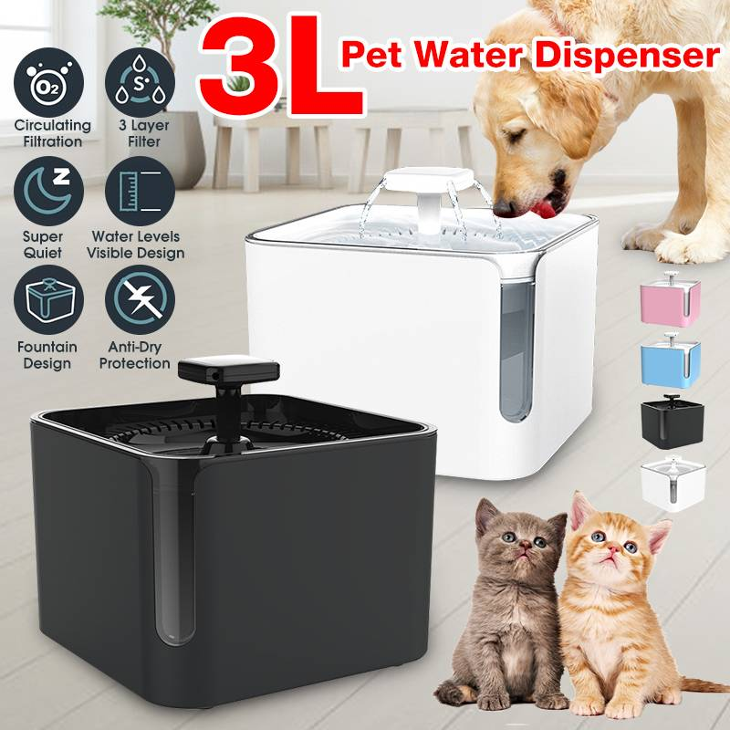 3L USB Automatic Pet Cat Dog Feeder Drinking Fountain Cats Water Fountain 360° Circulating Filtration Water Dispenser Pond