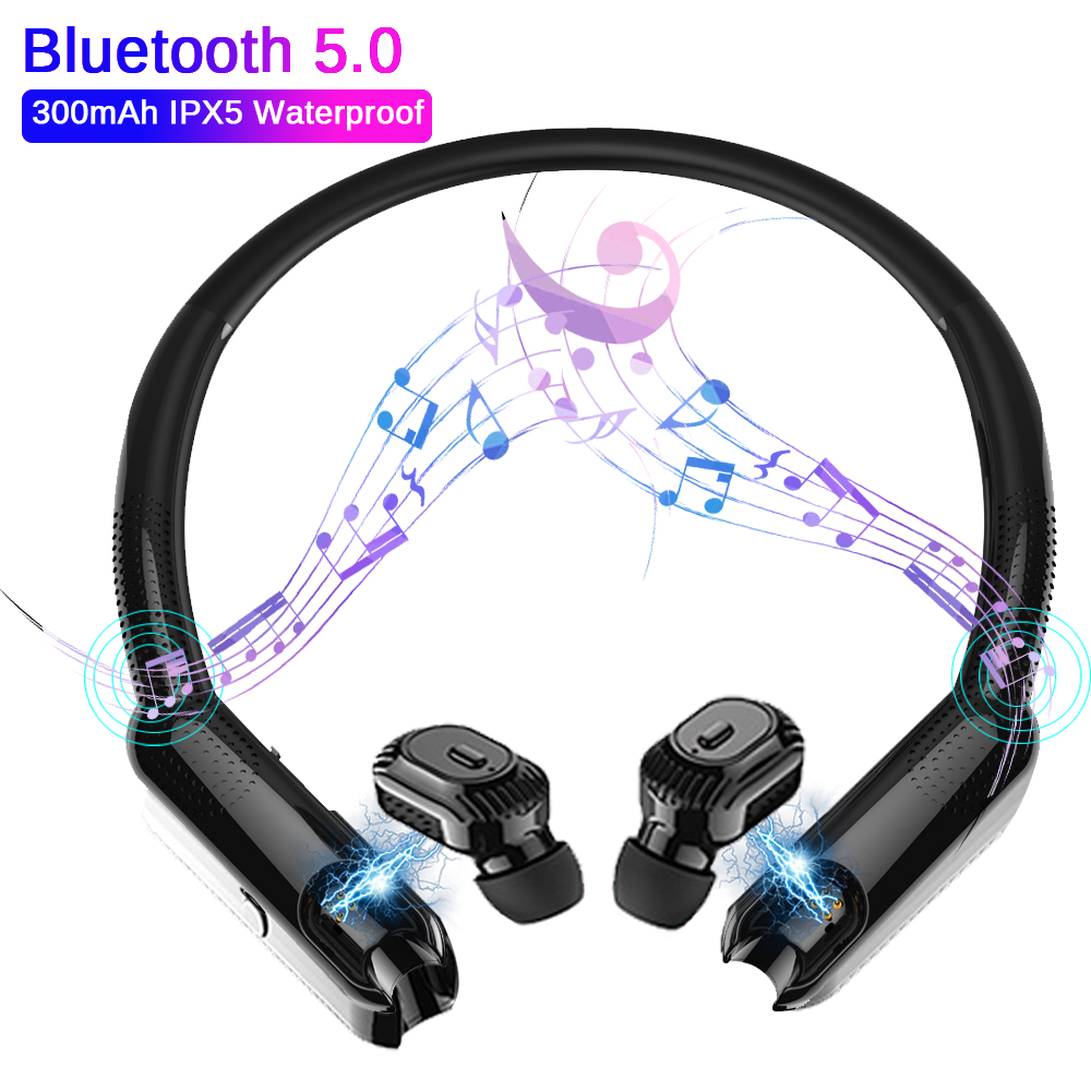 TWS Bluetooth Earphones Portable Neck Speaker Stereo Wireless Neckband Headphone Noise Cancelling Game Sport Waterproof Headset