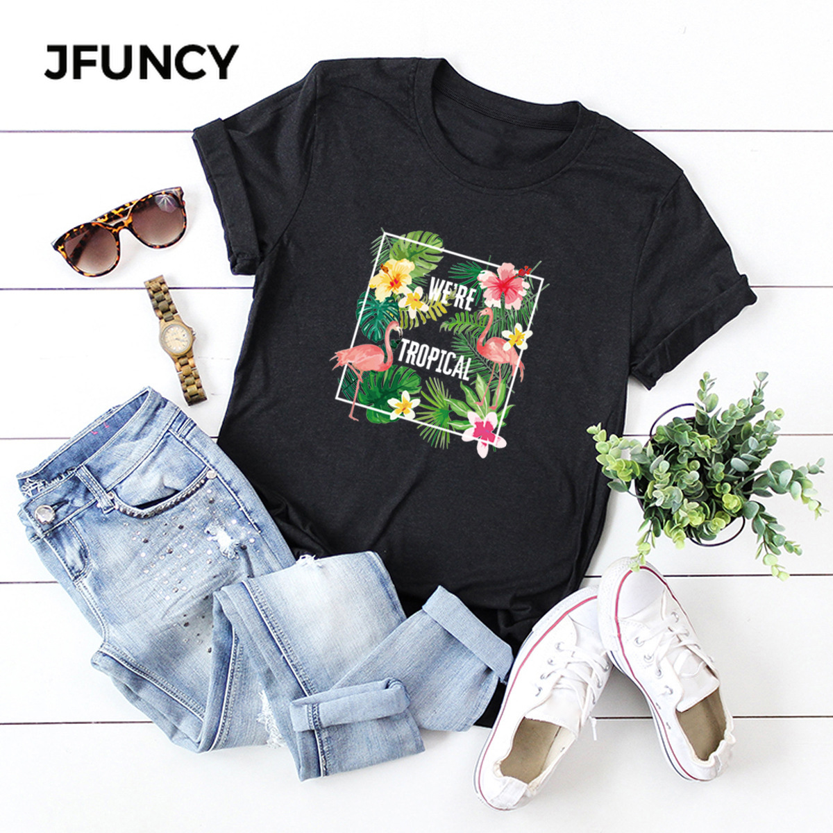 JFUNCY Flowers Printing Women T-Shirt New 100% Cotton Woman Shirts Plus Size Summer Casual Tshirt Short Sleeve Mujer Tees Tops