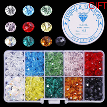Wholesale Best Selling 10 Colors Crystal Beads Round Glass Faceted loose beads With Container Box for Jewelry making