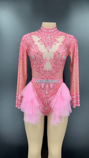 Sparkly Rhinestones Pink Lace Bodysuit Women Long Sleeve Birthday Party Outfit Dance Costume Sexy Show Performance Stage Wear