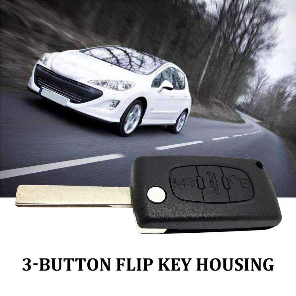 3-Button Flip <font><b>Key</b></font> Housing For <font><b>Peugeot</b></font> 207 <font><b>307</b></font> 407 308 With 3 Button <font><b>Car</b></font> <font><b>Key</b></font> <font><b>Protective</b></font> <font><b>Cases</b></font> <font><b>Car</b></font> Accessories image