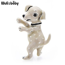 Wuli&baby 2 Colors Enamel Spotted Dog Brooch Pins For Women And Child New Year Gift Dalmatian Animal Brooch Pins