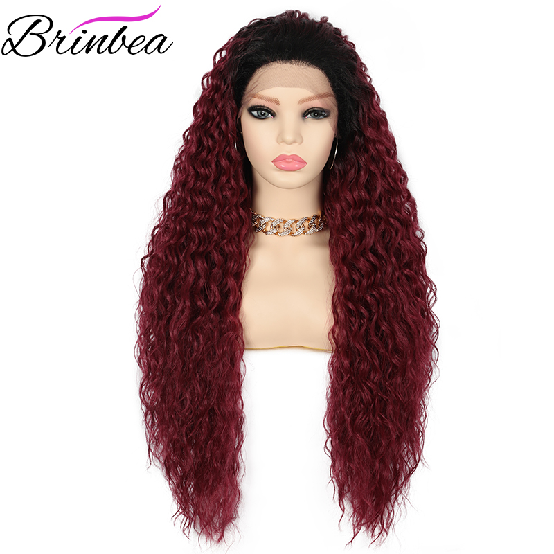 Brinbea 28 Inches Synthetic Swiss Lace Front Wigs 4 X 4 Multi Part Heat Resistant Long Curly for Women