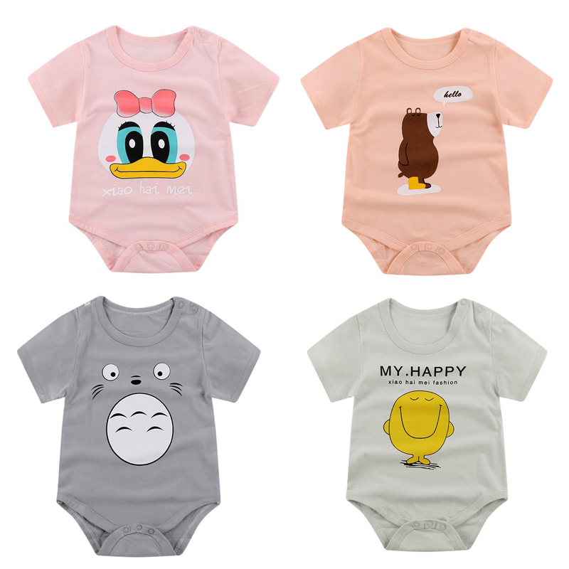 Baby Jumpsuits Newborn Cotton 2019 Girls Summer Short Sleeve Climbing Suits New Triangle Cartoon Baby Clothes Baby Boy
