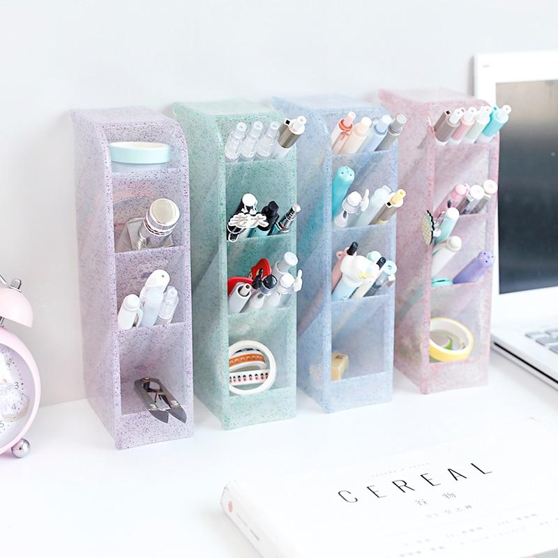 Multi-function Oblique 4 Grid Desktop Pen Holder Storage Clear 4 Colors Plastic Box Office School Desk Pen Pencil Organizer Case