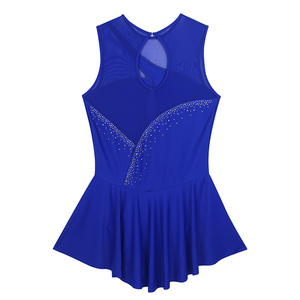 Image 5 - TiaoBug Adult Performance Dance Costume Sleeveless Mesh Splice Rhinestones Figure Skating Dress Women Ballet Gymnastics Leotard