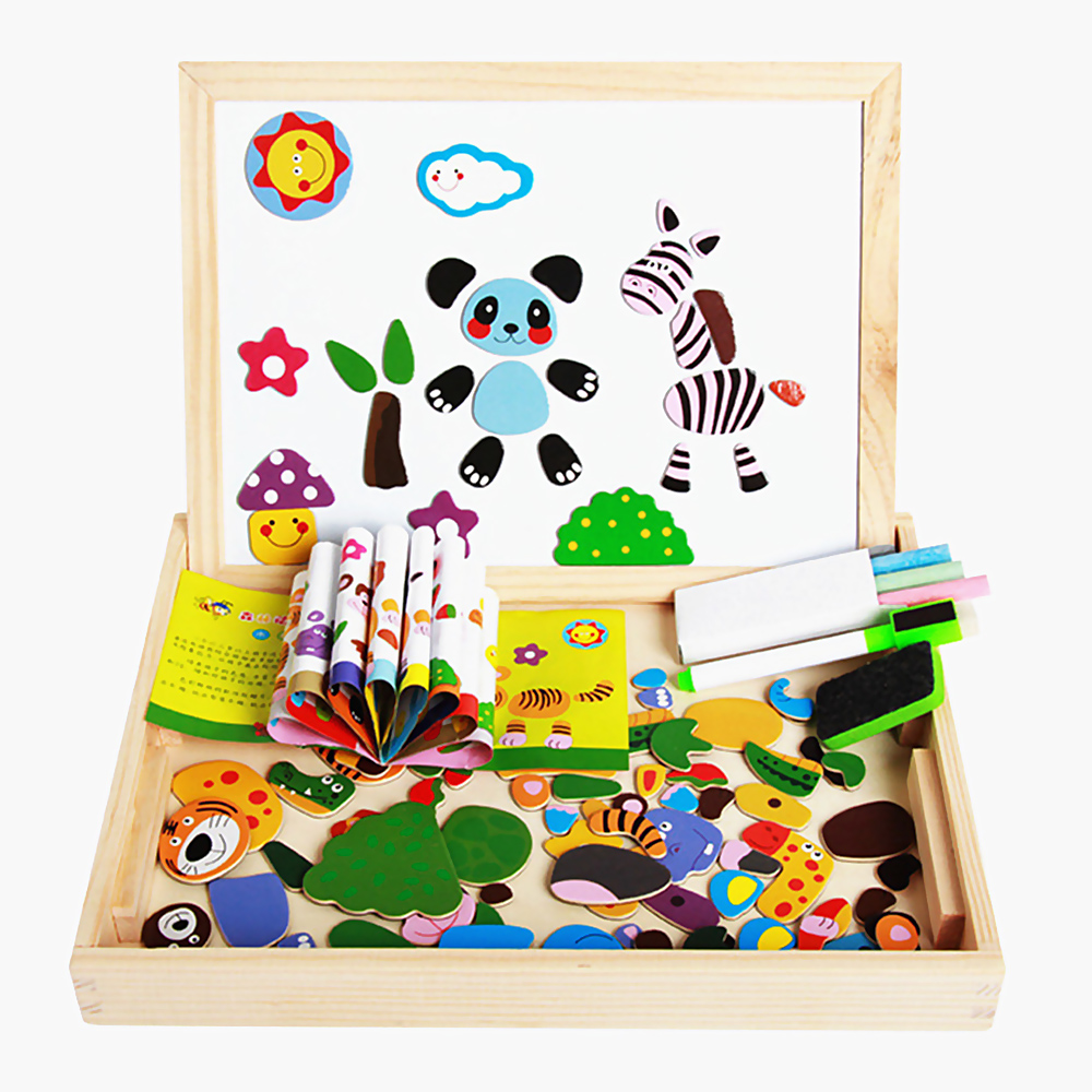 Puzzle game toy double-sided board magnetic puzzle block children's wooden art training coordination ability
