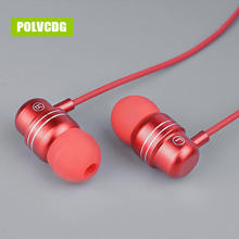 POLVCDG Red Music Mic 3.5mm HiFi Sports In-ear W1 Earbuds With Wheat Line Control Sub Woofer Earphones