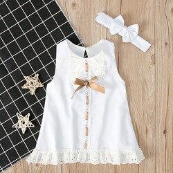Размер 0-12 мес., комплект для младенцев, одежда с круглым воротником, футболка с короткими рукавами и юбка Цвет белое кружевное платье с банто...