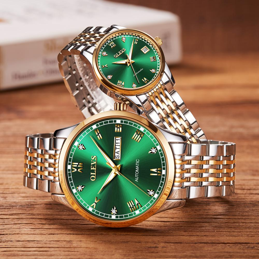 Luxury Mechanical Couple Watches Pair Men And Woman Automatic Watches For Lovers Fashion Wristwatch Stainless Steel Waterproof