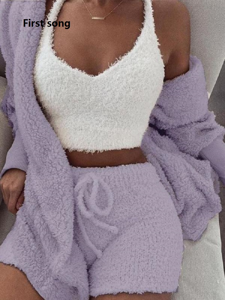First Song Ladies Fleece Plush Casual Two-piece Long-sleeved Hooded Cardigan Coat Autumn And Winter Coat + Shorts Fashion Clothi