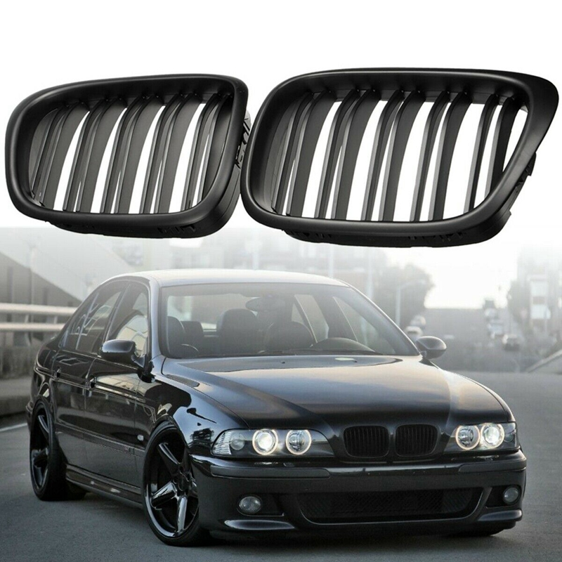 Front Bumper Kidney Grill Replacement Dual Slat Grilles for BMW E39 5 Series 525 528 1995 2004 Matte Black|Racing Grills| |  - title=