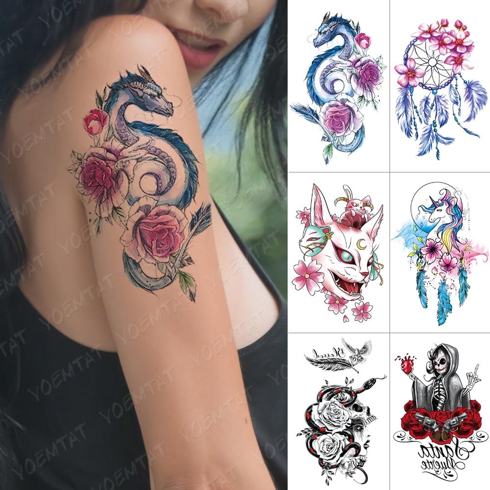Waterproof Temporary Tattoo Sticker Dragon Rose Cat Unicorn Dreamcatcher Flash Tattoos Witch Snake Body Art Arm Fake Tatoo Women