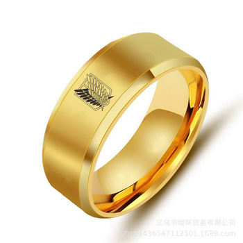5 colors Attack on Titan Black  sliver Stainless Steel Ring Wings Of Liberty Flag Finger Rings For Men Women Jewelry Anime Fans 2