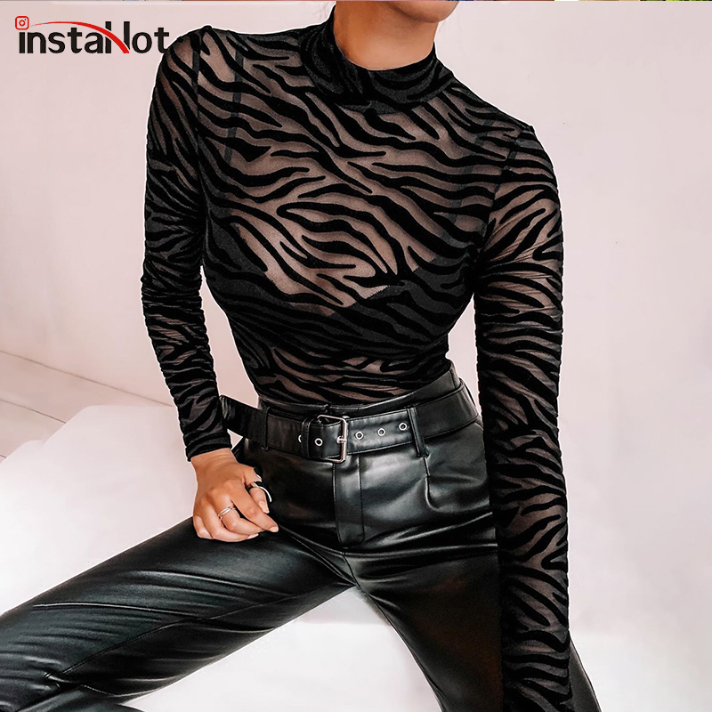 InstaHot Black Mesh Transparent Sexy Bodysuit Long Sleeve Slim Skinny Stripe Mock Neck Casual Rompers Women Lady Party Club Body