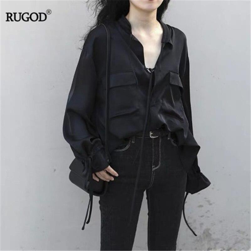 RUGOD 2019 New Autumn Women Solid Satin Shirt Strap V-neck Long Drawstring Sleeves Loose Slim Blouse Pockets High Street Stylish