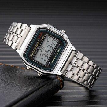 Простые ретро все металлические электронные часы стильные горячие стильные нейтральные стальные светодиодные часы для мужчин и женщин мужские часы