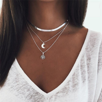 Gold Silver Color Triple Layered Chain Necklace Women Jewelry Minimalism Snake Chain Choker Necklace Moon Tree Pendant Jewelry triple moon