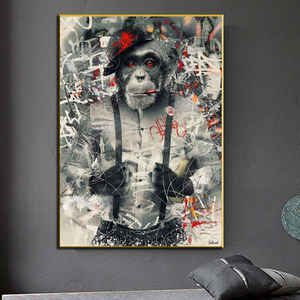 Modern Wall Art Decor Animal Graffiti Art Monkey Canvas Painting Cuadros Wall Art Posters Prints Wall Pictures for Living Room