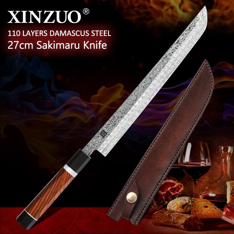 XINZUO 10.5 Sakimaru Knife 110 Layers Damascus Steel Sushi Sashimi Salmon Fish Filleting Kitchen Chef Knife Octagonal HandleKitchen Knives   -
