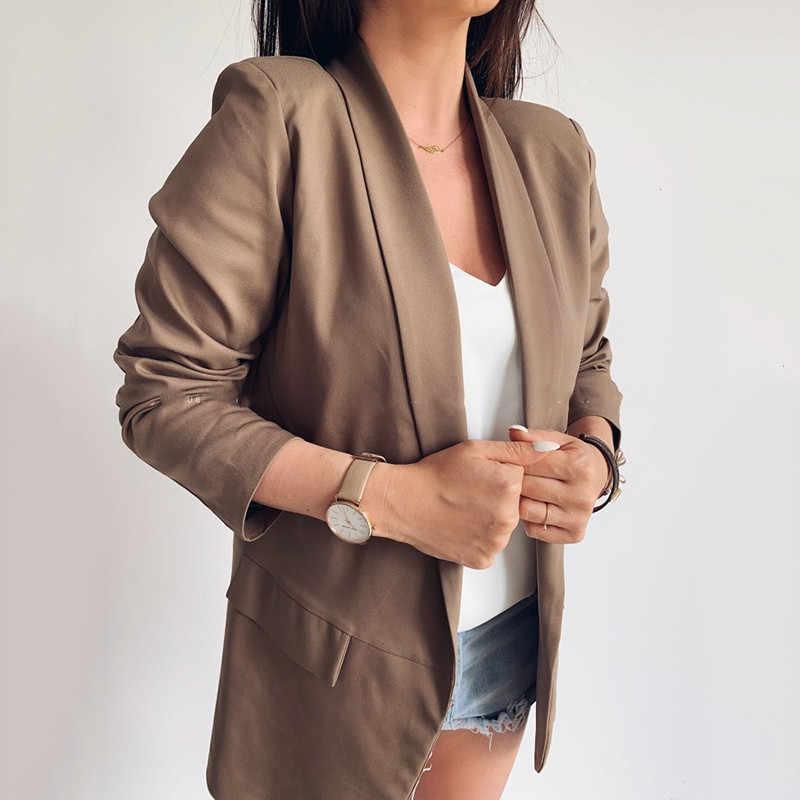 Joineles カジュアル秋冬ブレザー女性 2019 固体プラスサイズ高ファッションレトロポケット白ファムコート