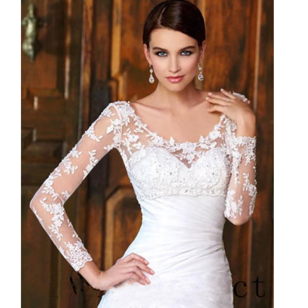 Lace Long Sleeve Wedding Bolero Scoop Bridal Wraps For Wedding Party Prom Cheap Ivory Beaded Bride Jacket Bolero Shrug Custom